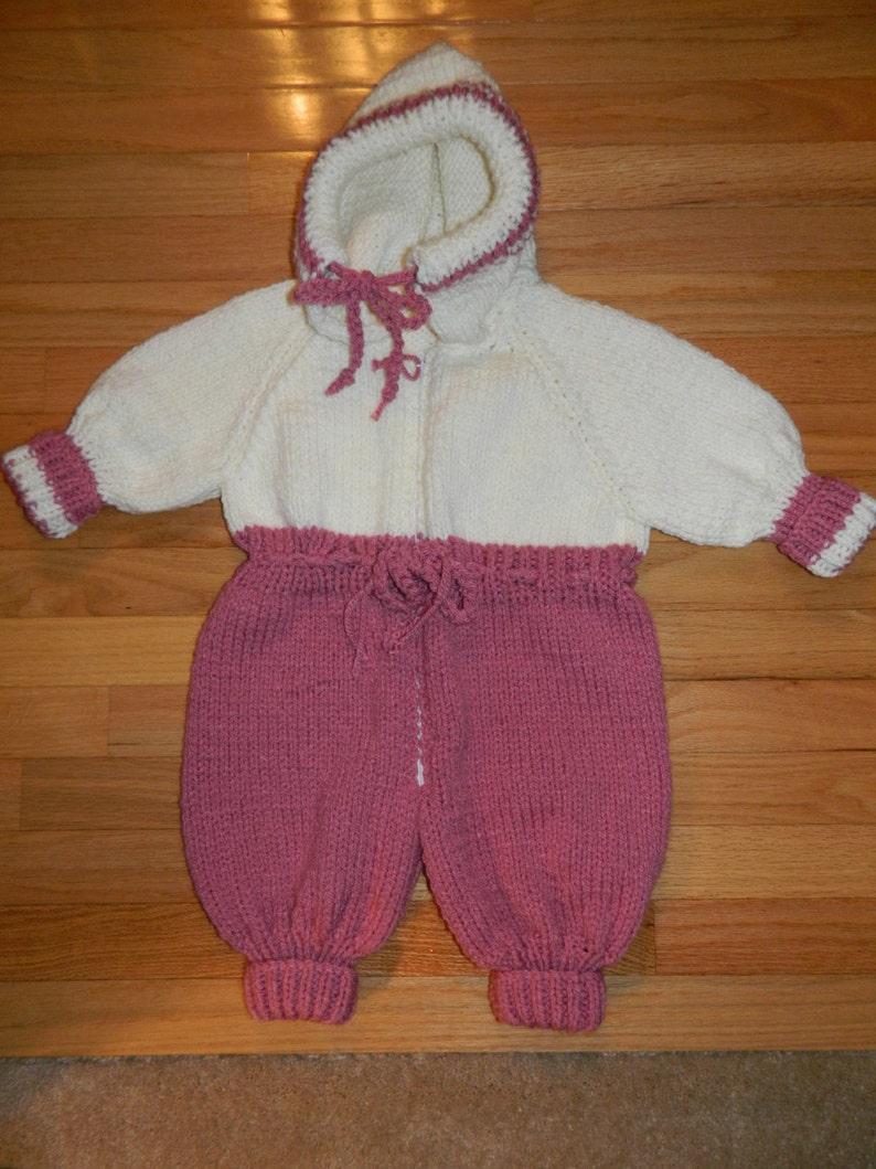 Hand Knit Baby Girl Infant One Piece Snowsuit / Pram size ...