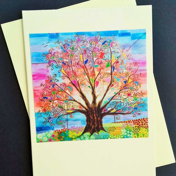 Tree Of Life Mothers Day Card Art Nouveau Boho Birthday