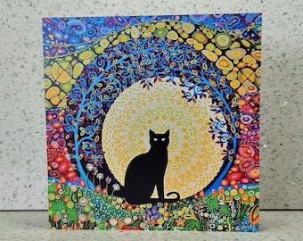 Black Cat Card, Birthday Card, Halloween Card, Card for Mum, Spiritual Blank Cat Lovers Art Greetings Notelet