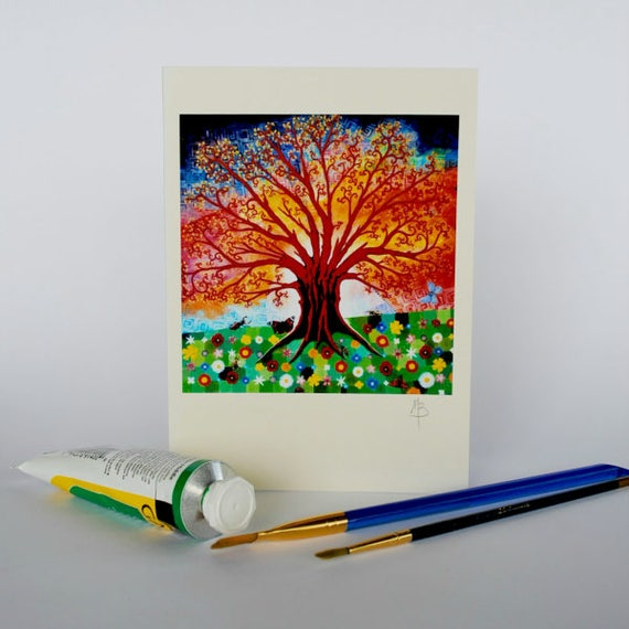 Tree Of Life Greeting Card In Psychedelic Art Nouveau Style
