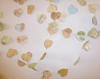 Map Garland - Paper Heart - Travel theme decoration
