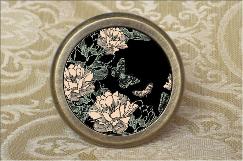 Art butterfly-French Cabinet Handles Pull Knob Ornate Drawer Knobs  Crystal Dresser Knob  Drawer Knobs Antique Bronze  Furniture Hardware