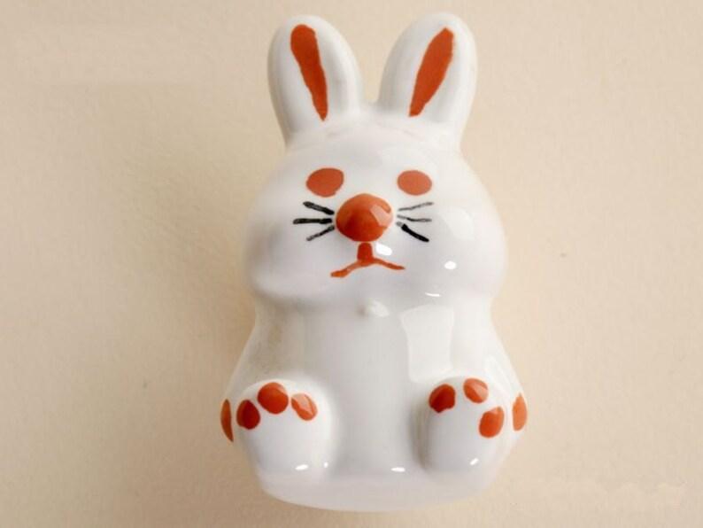 Rabbit-Decorative Knobs Dresser Knob Drawer Pulls Handles Rustic Ceramic Kitchen Cabinet Knobs Cupboard Door Knob Pull Handle Hardware