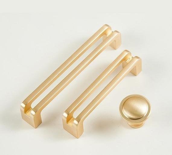 2.5/'/' 3.75/'/' 5/'/' 6.3/'/' Gold Brass Cabinet Door Handles Knob T Bar Pulls Drawer Pulls Dresser Knobs Kitchen Hardware Pulls 64 96 128 160 mm