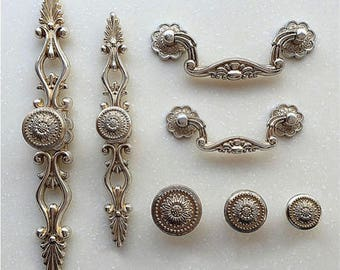 French Shabby Chic Dresser Drawer Knobs Pulls Handles / Antique Silver  Kitchen Cabinet Pull Handle Door