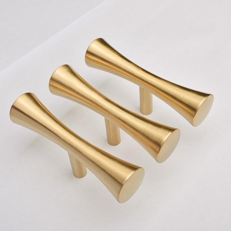 Merveilleux 2.5u0027u0027 3.75u0027u0027 Pure Copper Cabinet Handles T Bar Pulls Brushed Gold Brass  Drawer Knobs Pull Handles Dresser Pulls Kitchen Door Knobs Hardware