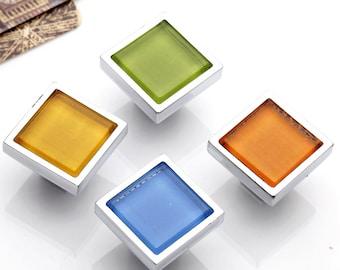 Silver Glass Knobs Square / Dresser Drawer Knobs Pulls Handles / Cabinet Knobs Pull Handle Furniture Cupboard Knob Kitchen Hardware