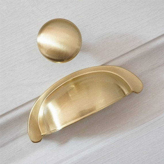 3 Brushed Nickel Gold Cup Pulls Dresser Knobs Black Drawer Pulls Handles Kitchen Cabinet Door Handle Pulls Knob Modern Cupboard Knobs 76 mm