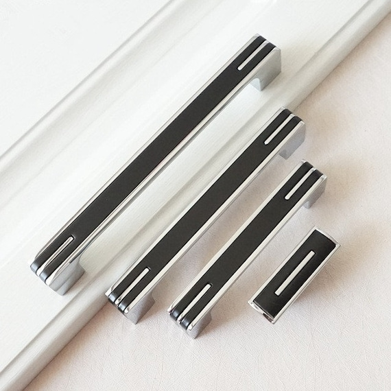 Modern Handles Kitchen Cabinet Door Handles Black Silver Dresser Pulls Drawer Pull Handles Knobs Furniture Cupboard Hardware 32 96 128 160mm