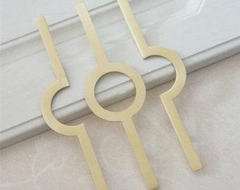 5''Semicircle Drawer Pulls Handles Circular Dresser Pulls Gold Brass Kitchen Cabinet Door Pull Knob Rustic Cupboard Pull LBFEEL 128 mm