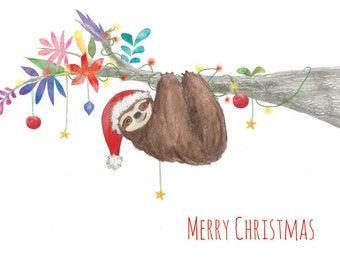 Sloth Christmas Card (blank inside)