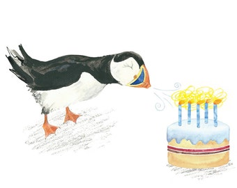 Puffin out the candles birthday card (blank inside)