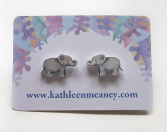 Elephant stud earrings
