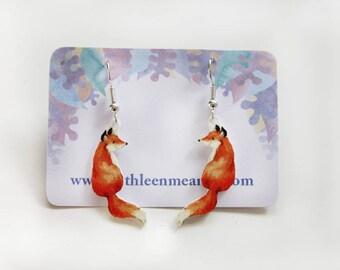 Fox drop animal earrings