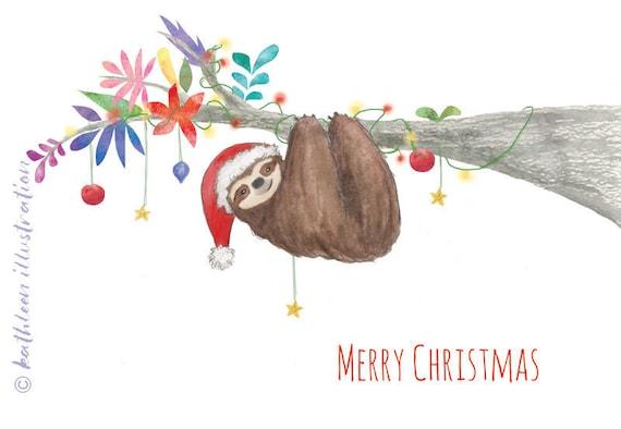 Christmas Sloth.Sloth Christmas Card Blank Inside