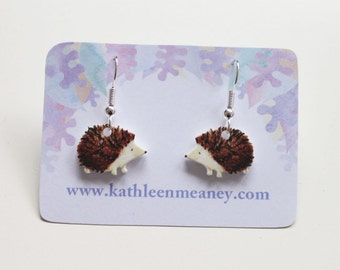 Hedgehog drop animal earrings