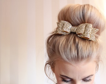 Oversized Large pale gold glitter fabric bow hair clip!!! For children and Adults