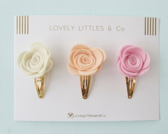 Girl/baby hair clip Felt Rose set on Snap Clip baby pink. Apricot and cream - 100% wool felt!