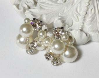 Swarovski Cluster Pearl Earrings (Ivory)