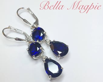 Lab Created Blue Sapphire  Earrings