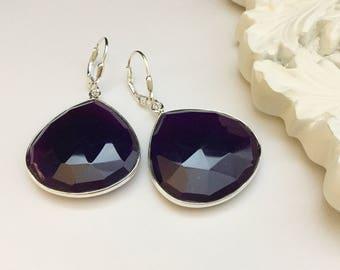 Eggplant Purple Chalcedony Earrings