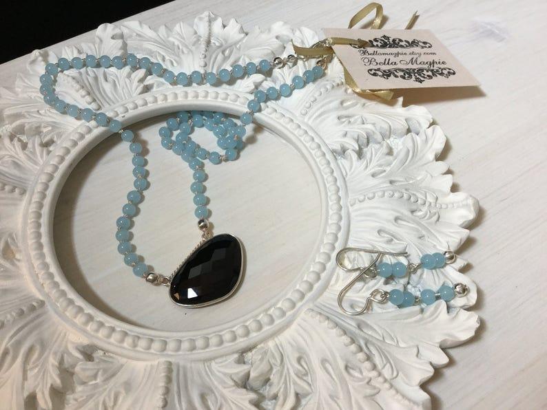 Hand Knotted On Silk Reduced-Aqua Quartz /& Black Onyx Set