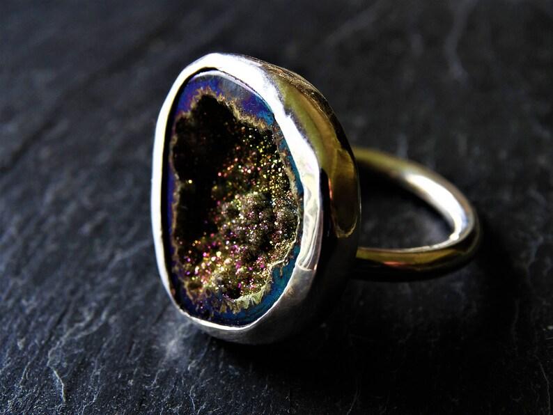 Druzy jewellery druzy jewellery statement ring statement jewellery cave geode druzy adjustable ring gemstone ring geode ring