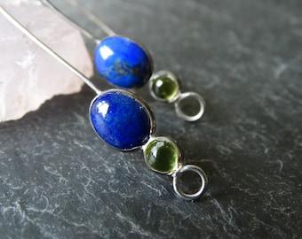 Lapis lazuli, peridot earrings - long dangle earrings - twin gemstone earrings - blue earrings - green earrings - august birthstone earrings