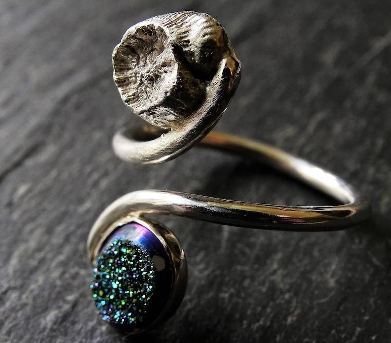 Adjustable ring Druzy resizeable gemstone ring titanium druzy shell ring peacock druzy ring Handmade ring silver shell ring