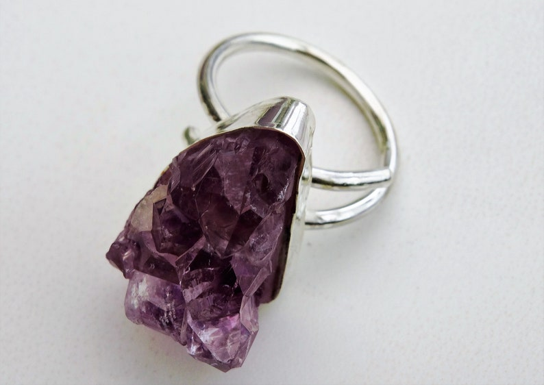 sterling silver ring amethyst geode ring Raw amethyst statement ring adjustable ring