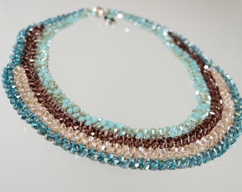 Beaded Turquoise Brow Champagne Necklace