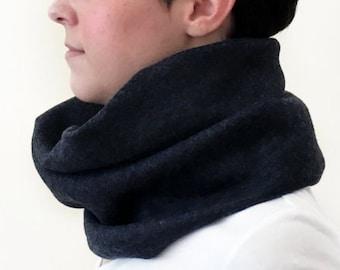 Dark Grey Infinity Tube Scarf | Soft Stretch Cotton Blend | Unisex