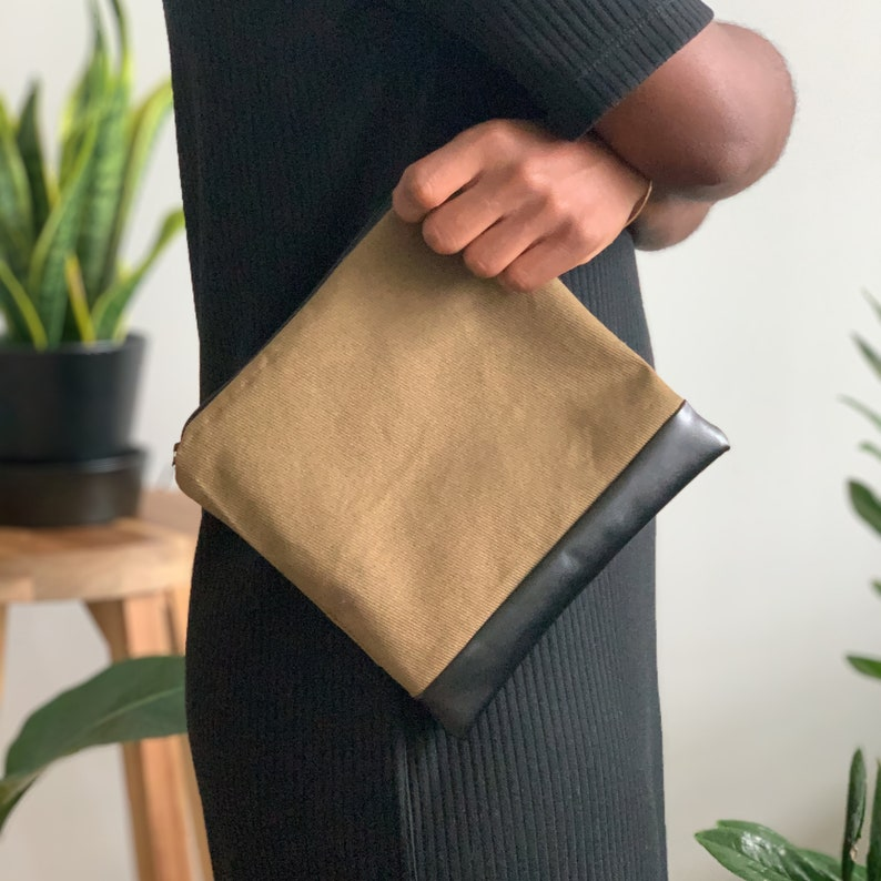 Canvas and Faux Leather Travel Pouch image 0