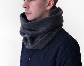 Grey Infinity Tube Scarf | Soft Wool Blend | Unisex