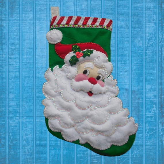 Jolly Saint Nick Stocking Finished and Fully Lined Bucilla Personalized Felt Applique