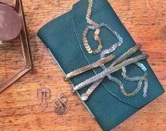 Genuine Leather Teal Unlined Notebook Sketchbook Journal w/ Vintage Repurposed Sequins Handmade Book Shabby Chic Mermaid Scales Beige Blue