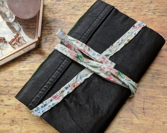 Genuine Vintage Repurposed Leather Black Unlined Notebook Sketchbook Journal w/ Botanical Colorful Fabric Trim Handmade Book Shabby Chic