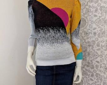 62ed425daf2 Betsey Johnson Alley Cat Neiman Marcus VINTAGE 1970s Mustard Black Metallic  Fuschia Pink Sunset Print Abstract Knit Sweater Ruffle Sleeves