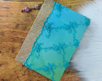 Bollywood Themed Junk Journal Photo Album Smash journal Scrapbook Interactive Teal Turquoise Gold Book w/ beaded charm beaded lace handmade
