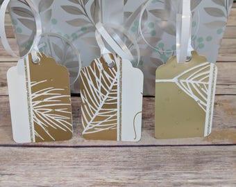 Handmade Pine print Gold and glitter Christmas gift tag with eyelet, christmas favor tag, gold, present tag