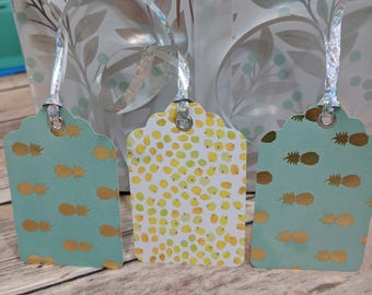 Handmade Pineapple Foil Birthday gift tag with eyelet, favor tag, pineapple, teal, present tag