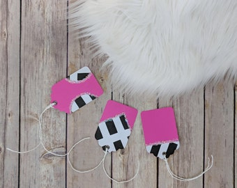 Handmade Kate spade inspired Birthday gift tag with eyelet, favor tag, pink and black, present tag