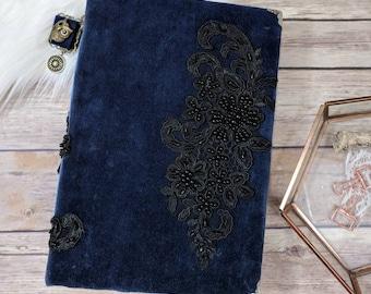 Vintage Moonlight Inspired All Black Paper Velvet & Beaded Lace Junk Journal Photo Album Scrapbook Interactive Navy Black Book Handmade