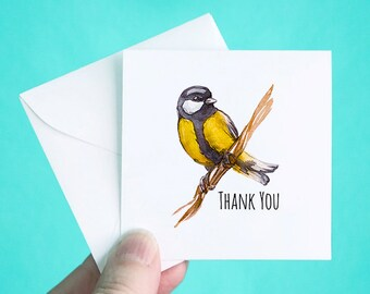 """Set of 12 Thank You Cards with Envelopes, Small Thank You Note Cards, Yellow Bird Thank You Mini Note Cards, Thank You Notes, 3 x 3"""""""
