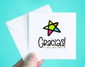"""Set of 12 Thank You Cards with Envelopes, Small Thank You Note Cards, Gracias Thank You Mini Note Cards, Thank You Notes, 3 x 3"""""""