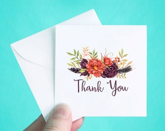 """Set of 12 Thank You Cards with Envelopes, Small Thank You Note Cards, Summer Floral Thank You Mini Note Cards, Thank You Notes, 3 x 3"""""""
