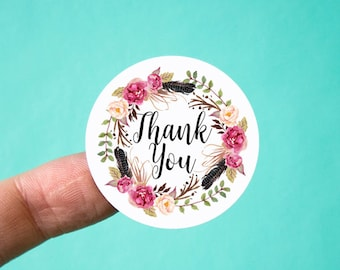 "Thank You Stickers | Packaging Stickers | 1.5"" round stickers 