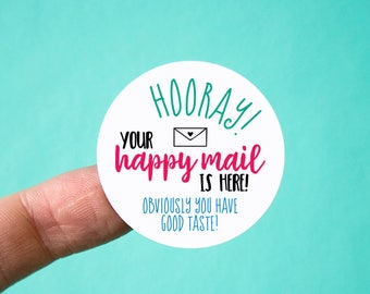 Happy mail stickers Packaging stickers Thank you stickers Thank you labels Happy mail Labels Packaging Shipping supplies Cute packaging