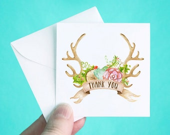 Set of 12 Thank You Cards with Envelopes, Succulent Antlers Thank You Note Cards, Heart Thank You Mini Note Cards, Thank You Notes, 3 x 3""