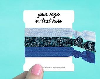 """60 Custom Hair Tie Cards 2.5 x 3""""   Hair Bow Cards   Hair Tie Display Cards   SH0059-02"""